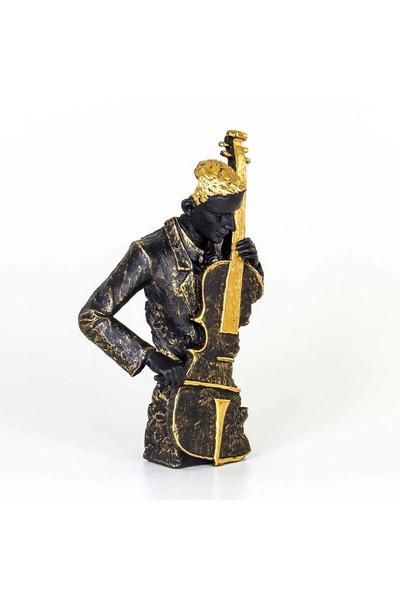 Polirezen Cello Çalan Adam Biblosu Siyah Renk 28x11x46cm 1 Adet
