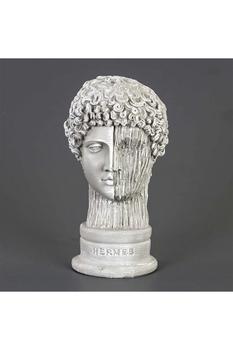 Polirezen Hermes Büstü Çiziğili Heykel Taş Renk 15x17x29cm 1 Adet - Thumbnail