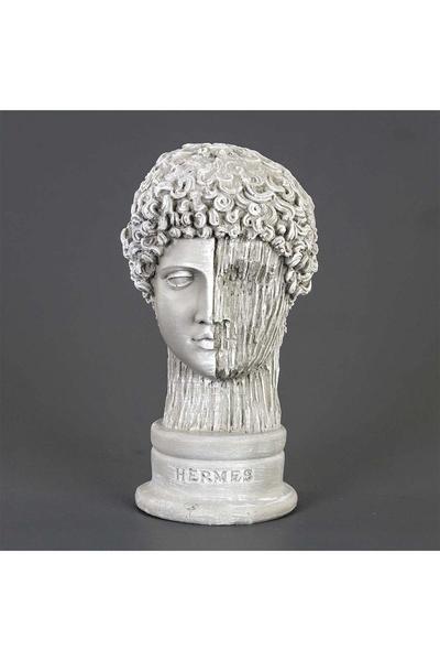 Polirezen Hermes Büstü Çiziğili Heykel Taş Renk 15x17x29cm 1 Adet