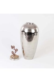 Metal Kapaklı vazo Gümüş Renk 22x59cm 1 Adet - Thumbnail