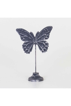 Polirezen Kelebek Biblosu Gümüş Renk 22x9,5x33cm 1 Adet - Thumbnail