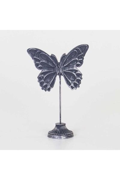 Polirezen Kelebek Biblosu Gümüş Renk 22x9,5x33cm 1 Adet