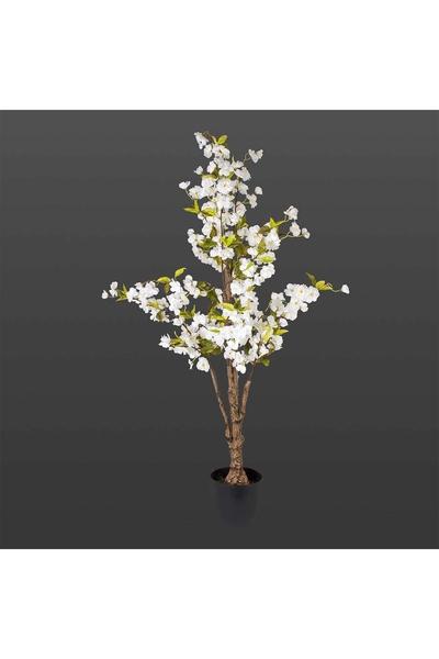 Plastik Saksılı Yapay Kiraz Ağacı Beyaz Renk 130cm 1 Adet