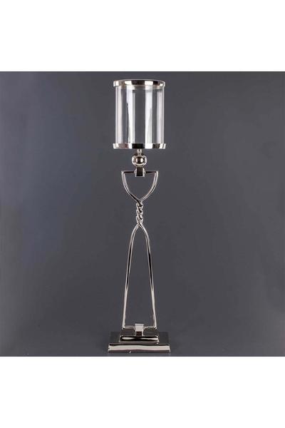 Metal Ayaklı Cam Mumluk Gümüş Renk 16x85cm 1 Adet