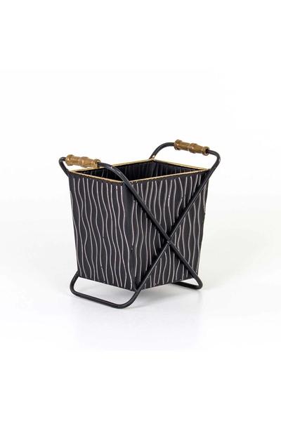 Metal Ayaklı Çiçeklik Siyah Renk 27x15,5x25,5cm 1 Adet