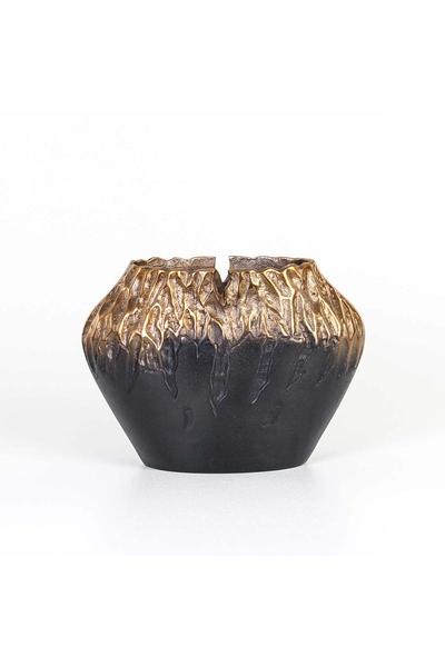 Metal Oval Vazo Bakır-Siyah Renk 31x1422cm 1 Adet