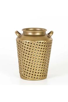 Metal Delikli Vazo Altın Renk 21x27,5cm 1 Adet - Thumbnail