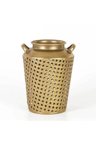 Metal Delikli Vazo Altın Renk 21x27,5cm 1 Adet