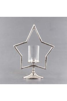 Metal Yıldız Standlı Cam Mumluk Gümüş Renk 38x12x51cm 1 Adet - Thumbnail