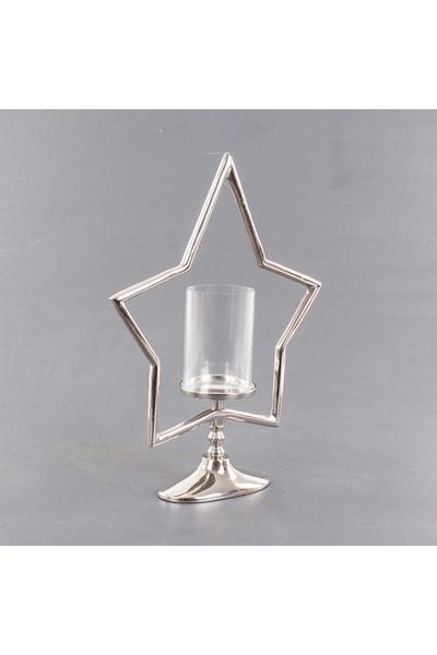 Metal Yıldız Standlı Cam Mumluk Gümüş Renk 38x12x51cm 1 Adet
