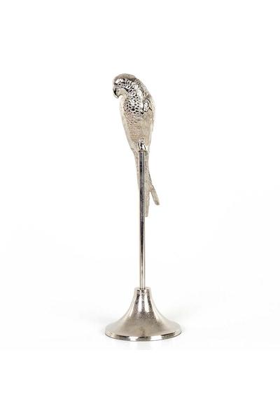 Metal Ayaklı Papağan Biblosu Gümüş Renk 14x47cm 1 Adet