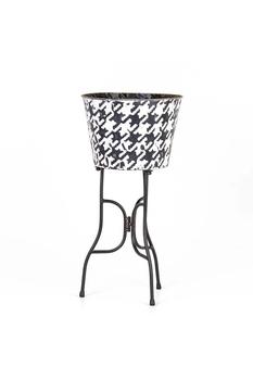 Metal Ayaklı Çiçeklik Siyah-Beyaz Renk 25x49cm 1 Adet - Thumbnail