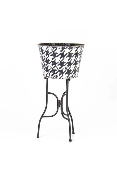 Metal Ayaklı Çiçeklik Siyah-Beyaz Renk 25x49cm 1 Adet