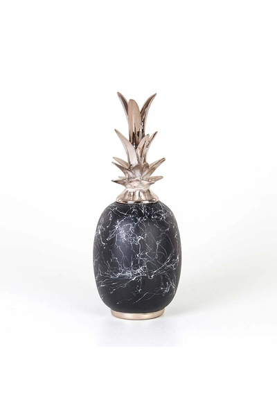 Polirezen -Seramik Desenli Ananas Biblosu Siyah Renk 14x37cm 1 Adet