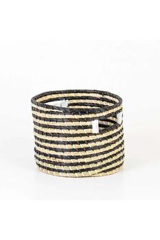 Kahverengi Şeritli Hasır Silindir Sepet 24*19cm 1 Adet - Thumbnail