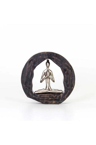 Ahşap Metal Yoga Yapan Kadın Dekor Süs 9*6*28cm 1 Adet