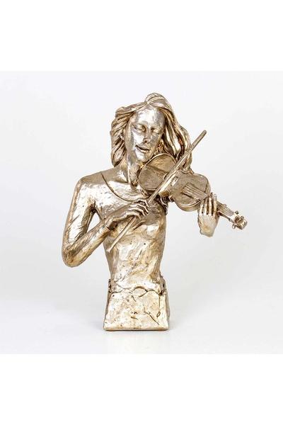 Kadın Kemancı Biblosu Gümüş Renk 32*17*42cm 1 Adet