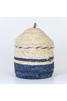 Hasır Kapaklı Yuvarlak Sepet Mavi Renk 51x58cm 1 Adet - Thumbnail