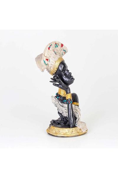 Polirezen Afrikalı Kadın Biblo Beyaz Renk 20x45cm 1 Adet