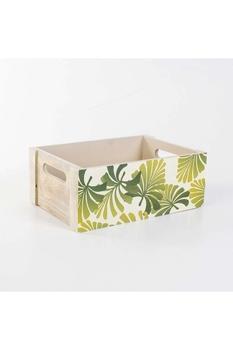 Ahşap Yaprak Desenli Kasa Beyaz Renk 29x19x11cm 1 Adet - Thumbnail
