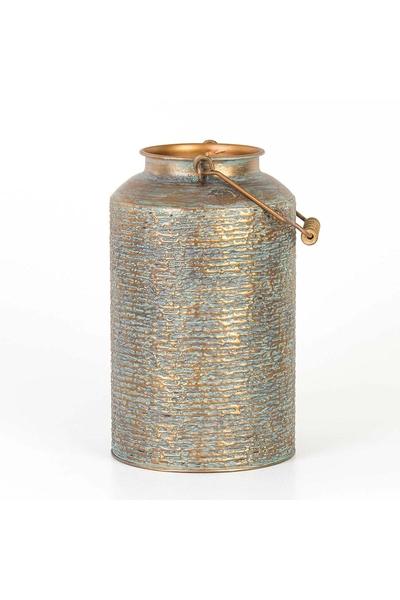 Metal Kulplu Otantik Vazo Gri Renk 21,3x35,5cm 1 Adet