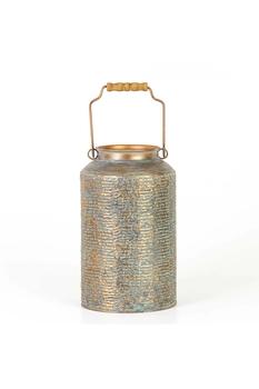 Metal Kulplu Otantik Vazo Gri Renk 21,3x35,5cm 1 Adet - Thumbnail