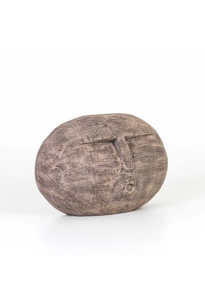 Ahşap Oval Maske Biblo Bronz Renk 26x9x17cm 1 Adet