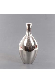 Metal Oval Vazo Gümüş Renk 20x12x42cm 1 Adet - Thumbnail