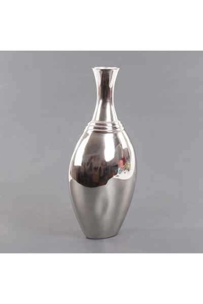Metal Oval Vazo Gümüş Renk 20x12x42cm 1 Adet