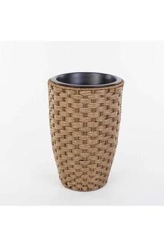 Plastik Hasır Görünümlü Yuvarlak Sepet Kahverengi 24x34cm 1 Adet - Thumbnail