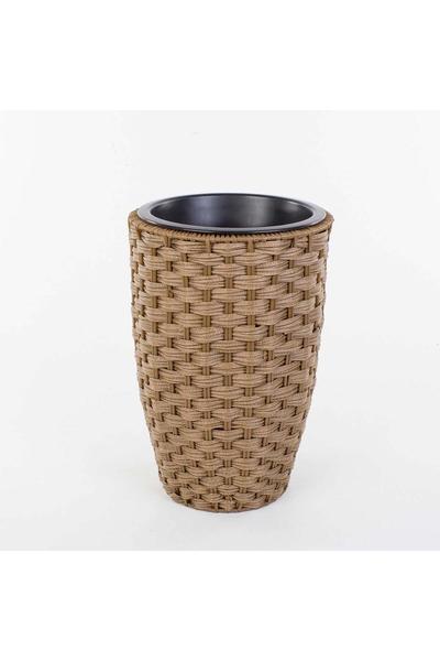 Plastik Hasır Görünümlü Yuvarlak Sepet Kahverengi 24x34cm 1 Adet