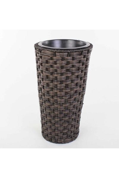 Plastik Hasır Görünümlü Yuvarlak Sepet Antrasit Renk 25x44cm 1 Adet