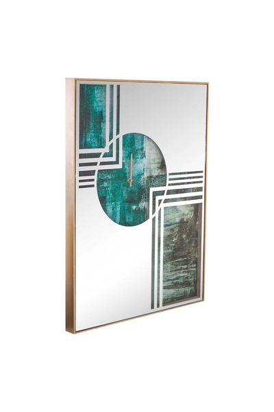 Ahşap Çerçeveli Aynalı Duvar Saati Yeşil Renk 60x80cm 1 Adet