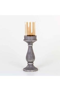 Seramik Ayaklı Cam Mumluk Antrasit Renk 11x40cm 1 Adet - Thumbnail