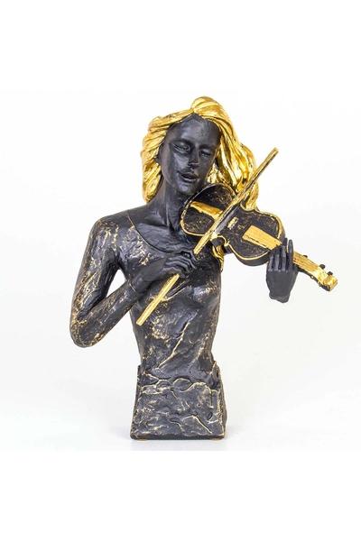 Polirezen Kemancı Kadın Biblo Siyah Altın Renk 32x17x42cm 1 Adet