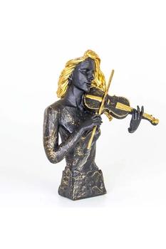 Polirezen Kemancı Kadın Biblo Siyah Altın Renk 32x17x42cm 1 Adet - Thumbnail