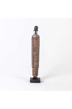 Ahşap Uzun Afrikalı kadın Biblo Siyah Renk 6,5x5,5x36,5cm 1 Adet - Thumbnail