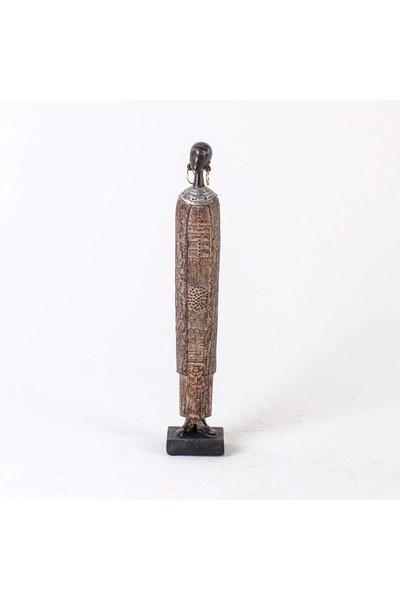 Ahşap Uzun Afrikalı kadın Biblo Siyah Renk 6,5x5,5x36,5cm 1 Adet