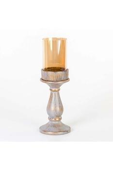 Metal Kuş Motifli Ayaklı Cam Mumluk Gri Altın Renk 11x35cm 1 Adet - Thumbnail