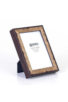 Ahşap Yaldızlı Fotoğraf Çerçevesi Kahverengi 13x18cm 1 Adet - Thumbnail