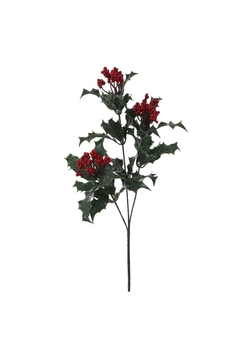 Yapay Holly Berry Yılbaşı Çiçeği Kırmızı Yeşil Renk 60cm 1 Adet - Thumbnail