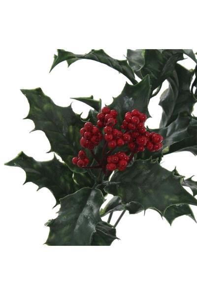 Yapay Holly Berry Yılbaşı Çiçeği Kırmızı Yeşil Renk 60cm 1 Adet