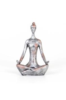 Polirezen Yoga Yapan Kadın Biblo Gümüş Renk 13x8x20cm 1 Adet - Thumbnail
