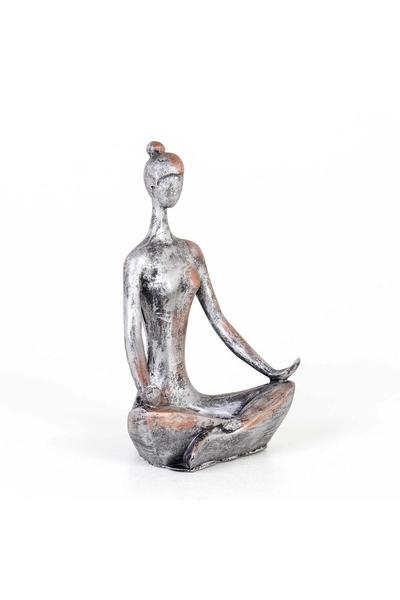 Polirezen Yoga Yapan Kadın Biblo Gümüş Renk 13x8x20cm 1 Adet