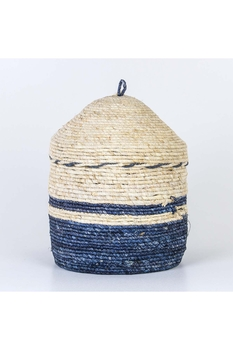 Hasır Yuvarlak Sepet Naturel Mavi Renk 25x23cm 1 Adet - Thumbnail