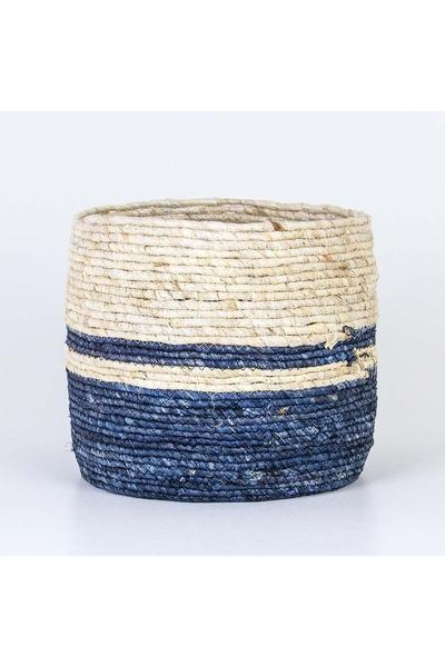 Hasır Yuvarlak Sepet Naturel Mavi Renk 25x23cm 1 Adet