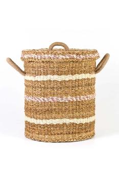 Hasır Kapaklı Çamaşır Sepeti Naturel Renk 42x50cm 1 Adet - Thumbnail