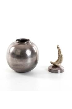Metal Kapaklı Oval Vazo Gümüş Renk 17x31cm 1 Adet - Thumbnail
