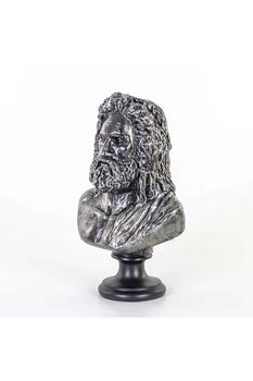 Polirezan Zeus Büst Heykeli Gümüş Renk 23x15x37cm 1 Adet - Thumbnail