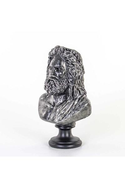 Polirezan Zeus Büst Heykeli Gümüş Renk 23x15x37cm 1 Adet